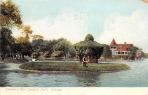 Chicago Illinois~Dearborn Isle~Garfield Park~Man on Island~1907 Postcard