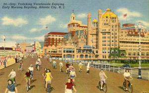 NJ - Atlantic City. Bicycling on the Boardwalk