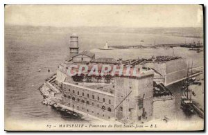 Old postcard Marseille Panorama Fort St. John