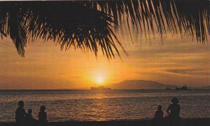 Ships in Distance, Peopel Watch the Golden Sunset of Manila Bay, Manila, Phil...