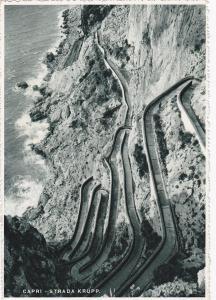 CAPRI, Napoli, Campania, Italy; Aerial View of Strada Krupp, Krupp Road, 20-30s