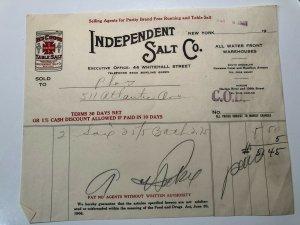 1925 Independent SALT COMPANY Red Cross Table Salt NEW YORK Bill Letterhead