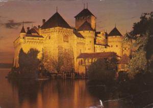 Switzerland Le Chateau de Chillon At Night