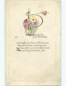 Pre-Linen THE LETTER P - WITH PANSY FLOWERS FOR YOUR BIRTHDAY k4614