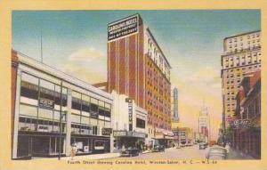 North Carolina Winston Salem Fourth Street Showing Carolina Hotel