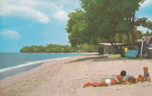 Sufside Beach, Brunette Sun Tanning, BARBADOS, 40-60's