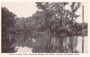 Chilliecothe Ohio~City Park Bridge~Power House~Smoke Stack~1920s Sepia Postcard