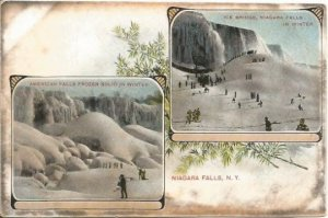 Vintage Postcard, American Falls Ice Bridge Niagara Falls Snowy Winter Scene