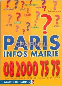 Modern Postcard Paris City Hall Paris City Hall Info