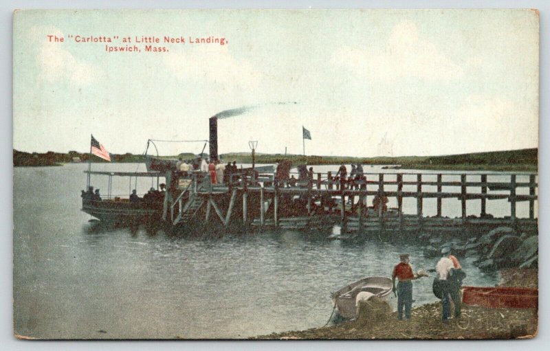 Ipswich Massachusetts~Carlotta Excursion Steamer~Little Neck Boat Landing~c1910
