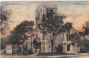 Waco Texas First Presbyterian Church General View Antique Postcard V11912
