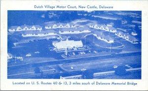 1953 New Castle Delaware Dutch Village Motor Court Aerial View Postcard DO