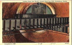 World's Largest Hand Dug Well Greensburg KS Vintage Postcard Standard View Card
