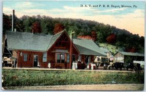 Warren, Pennsylvania Railroad Postcard D.A.V. and P.R.R. Depot 1911 Cancel