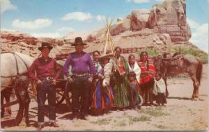 'Navajo Family On Reservation' St. Christopher's Mission Bluff UT Postcard D74