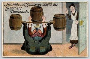 Maibauer Comic~Athletics & Gymnastics of Beer Drinker~Lifts Barrels~Landlady~'08