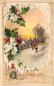 Christmas Postcard Antique Xmas Post Card Folder Card Opens Up, John Winsch P...