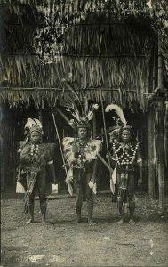 malay malaysia, BORNEO SARAWAK, 3 Native DAYAK Warriors with Spears (1910s) RPPC