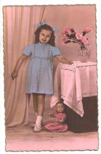 RP; Hand-tinted, Happy girl in blue dress, doll at her feet, 00-10s