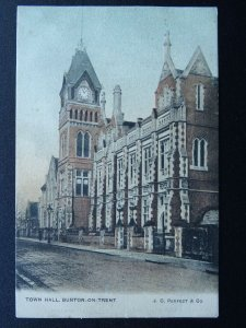 Staffordshire BURTON ON TRENT Town Hall - Old Postcard by J.C. Perfect Co.