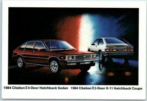 1984 Chevrolet CITATION Car Advertising Postcard 4-Door & 2-Door Models Chevy