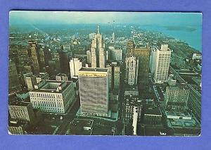 Detroit, Michigan/MI Postcard, Downtown Detroit From The Air