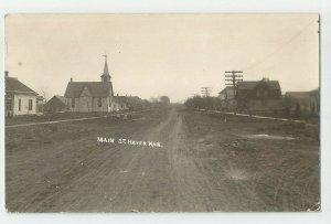 Antique POSTCARD ~ Real photo ~Main Street ~ Haven, Kansas ~~ Circa 1904-1918