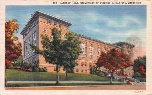 Lathrop  Hall, University of Wisconsin, Madison, WI, Early Postcard, Used