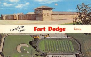 Fort Dodge Iowa~Birdseye Dodger Football Stadium~Baseball Diamond~1960s Postcard