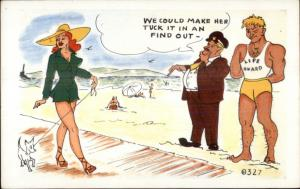 Sexy Woman Walking Dog Perverts Life Guard Ogle 1950s Comic Postcard