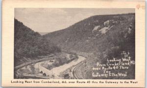 Cumberland, Maryland Postcard Bird's-Eye View Route 40 & Railroad Tracks c1950s