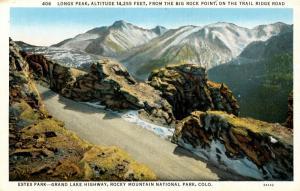 CO - Rocky Mountains National Park. Estes Park, Long's Peak from Big Rock Pt,...