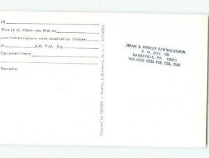Pre-1980 RADIO CARD - CB HAM OR QSL Manasquan - Wall Township NJ AH2672