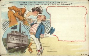 Large Tall Woman Bends to Kiss Small Man - Steamship c1910 Postcard