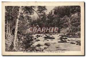 Old Postcard Frontiere Franco Suisse Doubs after the fall