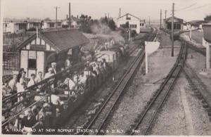 New Romney Station A Open Air Train Load Kent Railway Real Photo Postcard