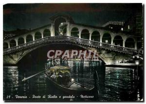 Modern Postcard Venezia Rialto Bridge and Gondola Night