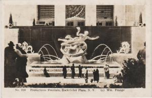 NEW YORK CITY ROCKEFELLER CENTER PROMETHEUS FOUNTAIN STATUE, REAL PHOTO PC, NYC