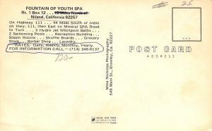 Niland California~Fountain Of Youth Spa~1960 Postcard