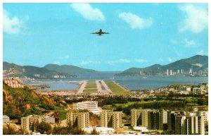 Plane Landing From Lung Tseung Road Hong Kong Postcard PC1047