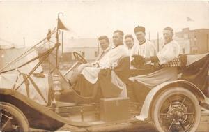 A20/ Automobile Real Photo RPPC Postcard c1910 Parade Priest Church Religiuos 3