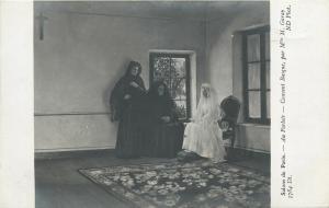 Salon Paris bride in the parlor basque convent early art postcard
