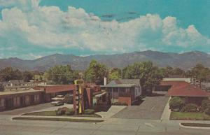 Scenic view showing Nevada Motel, Colorado Springs, Colorado, PU-40-60s