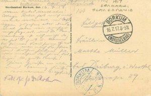 Denmark Scandinavia 1917 Nordseebad Borkum Strandstrasse Postcard 21-10529