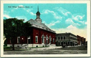 Emporia, Kansas Postcard POST OFFICE Building / Street View KROPP c1930s Unused