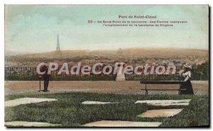 Old Postcard Parc de Saint Cloud Le Rond Point Lantern The stone marking the ...