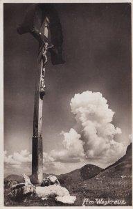 AM Wegkreuz German Crucifix Religious Old Real Photo Postcard