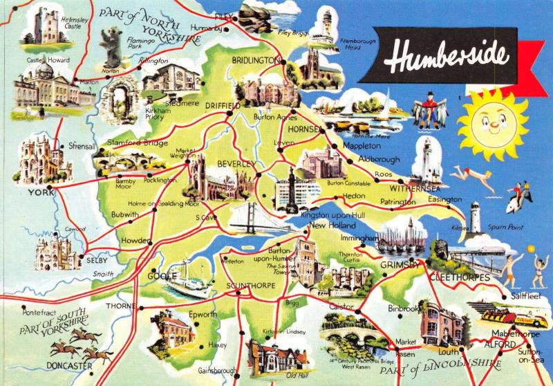 Map Postcard of Humberside East Yorkshire Hull Grimsby