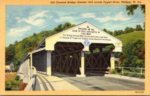 West Virginia Philippi Old Covered Bridge Erected 1852 Across Tygart River Cu...