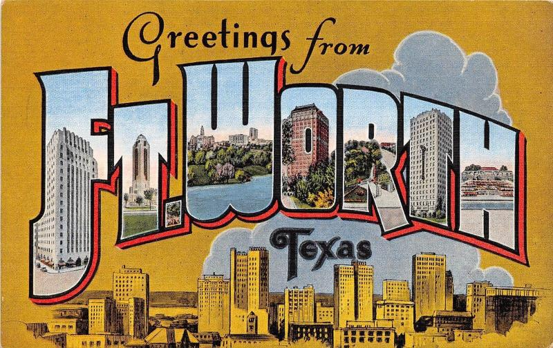 B48 ft fort worth texas tx postcard linen large letter greetings b48 ft fort worth texas tx postcard linen large letter greetings from m4hsunfo